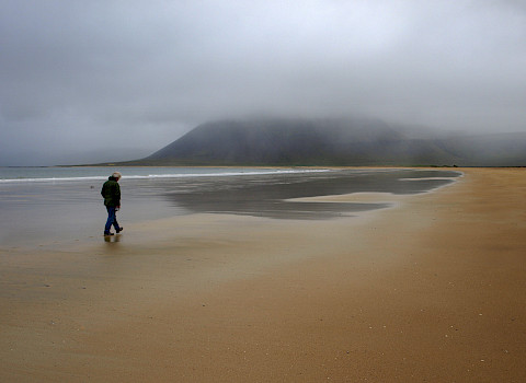 Man walking on beach in Iceland (Photo: Hugi Olafsson)